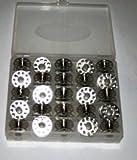 Spulenbox + 25 Spulen Metallspulen / CB Greifer für BROTHER, W6, SINGER, AEG