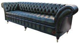 Chesterfield Balmoral Gartenbank 3-Sitzer, Knopfverzierung, 4 Sofas Antik Leder, Grün