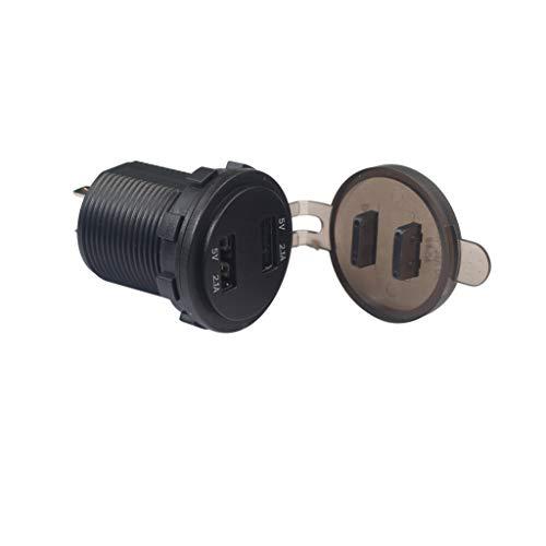 12V Doppel-USB-Zigarettenanzünder-Ladegerät-Netzteil-Steckdose Mit Strom- und Spannungsanzeige Auto Motorrad Zigarettenanzünder Position Doppel USB Port Ladegerät (Schwarz)