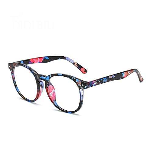 Computer Glasses Anti Blue Light Blocking Filter Gaming Eyeglass Women Round Leopard Clear Spectacle Frame Oculos WN1142 C4 Flower
