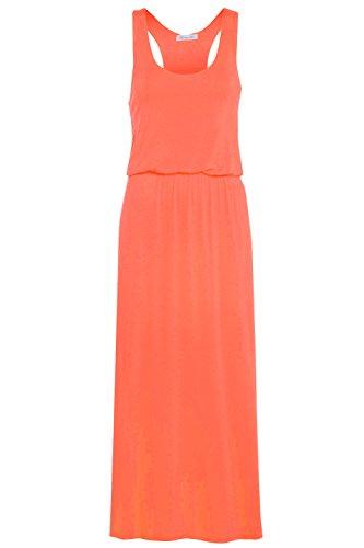 Glossy Look Damen Kleid, Einfarbig schwarz schwarz Korallenrot