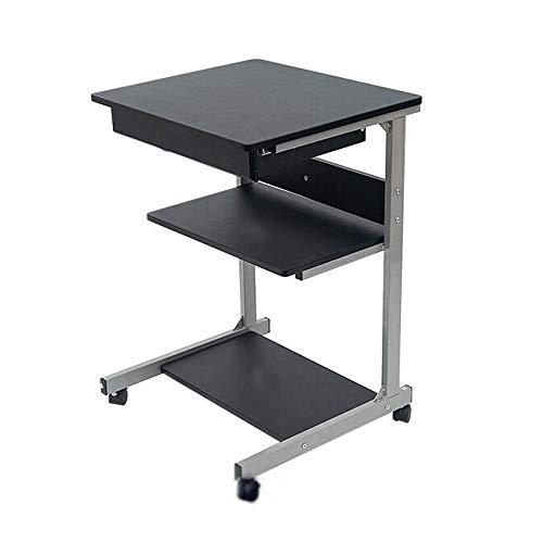 Tables HAIZHEN Pliable Bureau d'ordinateur Mobile, Bureau d'étude à 3 étages avec tiroirs pour Home Studio (Couleur : Noir)