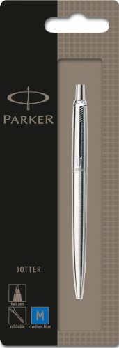 parker-1870803-jotter-ballpoint-pen-stainless-steel-with-chrome-trim-blister-pack-blue-ink