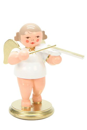 """Christian Ulbricht Musikengel """"Engel weiss/gold mit Geige"""" Höhe 6cm, 31309, Musik, Original Holzkunst aus dem Erzgebirge Seiffen, Handarbeit"""
