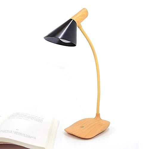 Roma-sockel (MQW Moderne Nordic Industrial Simplistic Design LED Schreibtischlampe mit Energiesparfunktion und Holzimitat-Sockel für Schlafzimmer, Arbeitszimmer, schwarzer Lampenschirm + Holzhalterung Einfach roma)