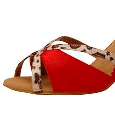Scarpe da ballo-Personalizzabile-Da donna-Balli latino-americani / Jazz / Salsa / Scarpe da swing-Tacco su misura-Raso-Rosa / Rosso Red