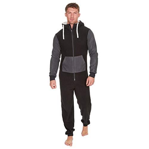 (Sannysis Herren Jumpsuit Schlafanzug Jogger Trainingsanzug Fitnessbekleidung Onesie Ganzkörperanzug Basic und Schlicht Strampelanzug Overall Körperanzug)