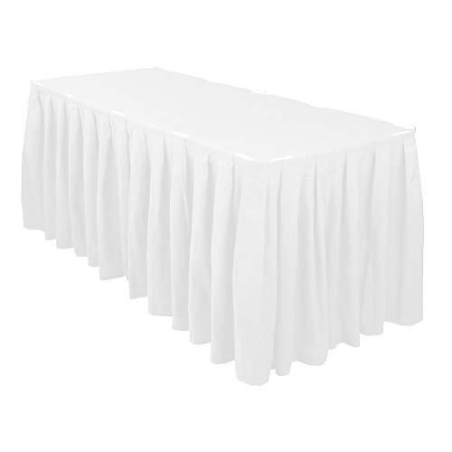 Weddecor Schwarz 14ft Polyester Tisch Rock mit Nylon Verschlüsse für Einfache Befestigung - Dekorativ Tisch Kleidung für Hochzeit, Partys, Feier, Events, Passt 2.5ft X 4ft Tisch - Weiß, 17 feet (Tisch Schwarz Rock)