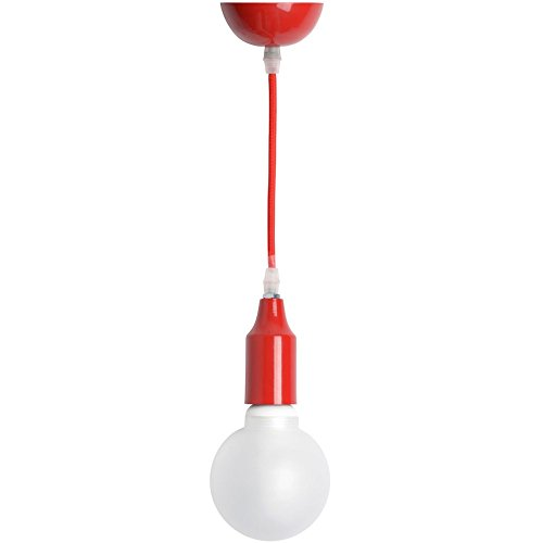 Suspension Color Block Rouge Métal et fil gainé tissu 60 W La chaise longue 34-1M-006R