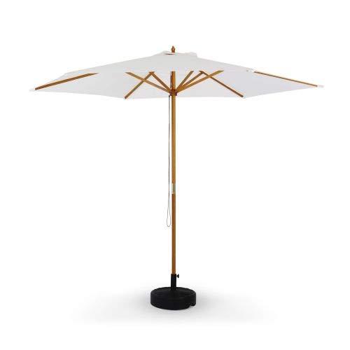 Alice's Garden Parasol Droit Rond en Bois 3m - Cabourg Ecru - mât Central en Bois, Ø300cm, système d'ouverture Manuelle, poulie