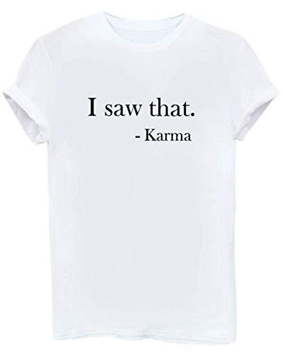 BLACKMYTH Frauen Casual Kurzarm Sommer Cute Tops Tee Damen Hipster Funny Letter T-Shirt Weiß Small