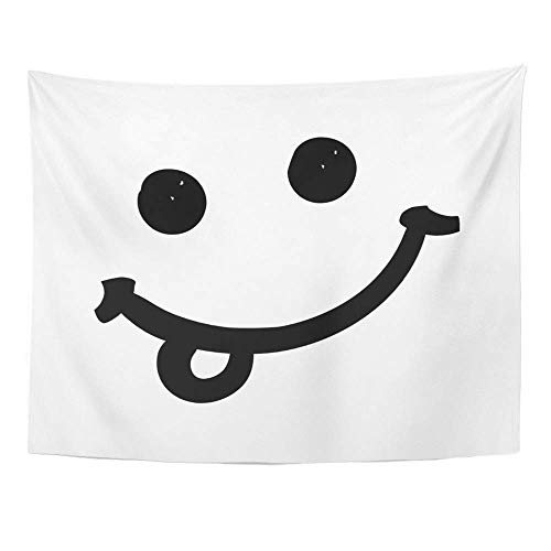 AOCCK Wandteppiche Wall Hanging Yummy Funny Smile with Tongue Doodle Style for Your Design Face Tasty Abstract Black 60