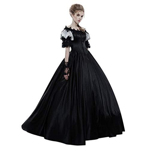 Des Kostüm Königin Waldes - Mittelalter Kleid Damen Kurzarm Renaissance Viktorianischen Königin Kostüm Piebo Gothic Mittelalterlichen Adels Palast Prinzessin Maxikleid Lantern Sleeve Women Lange Kleider mit hohem Taille Spitze