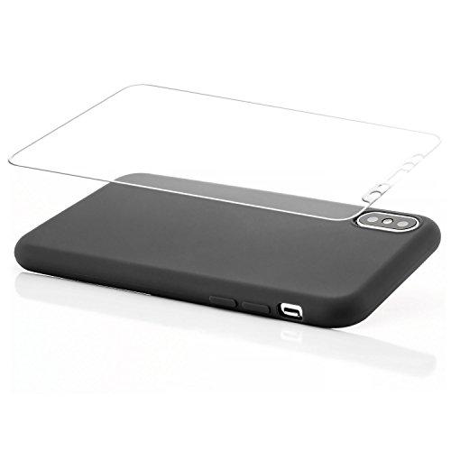 zanasta® iPhone X Hülle Case + 3D Panzerglas Silikon Soft Flex Schutzhülle Ultra-Slim Handyhülle Cover Matt Rosa Schwarz