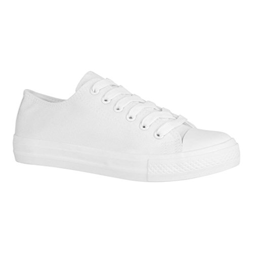 Elara Unisex Sneaker | Bequeme Sportschuhe für Damen und Herren | Low Top Turnschuh Textil Schuhe 36-46 A-YD3230-Allwhite-37