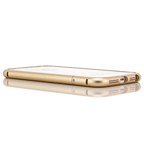 Saxonia Custodia di alluminio + 2x Vetro Temperato Apple iPhone SE 5 5S Case Cover Slim Bumper telaio del Respingente Antiurto Argento Oro + 2x Vetro
