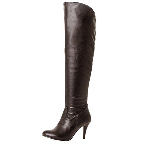 Nonbrand Damen Stiletto-Heels / Overknee-Stiefel aus Kunstleder Braun