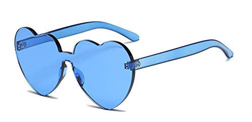 CNSP Brillen,Vintage Sonnenbrillen,Sunglasses Women 2019 New Colorful Fashion cute sexy retro Love Heart Rimless Eyewear Candy Color,Blue