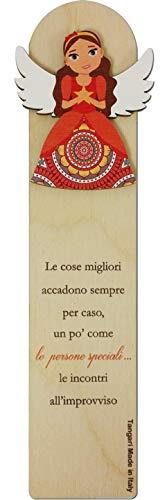 SEGNALIBRO EMOZIONALI CM.5,5X18,5 Amicizia in Legno Naturale con Originale Dedica. Made in Italy