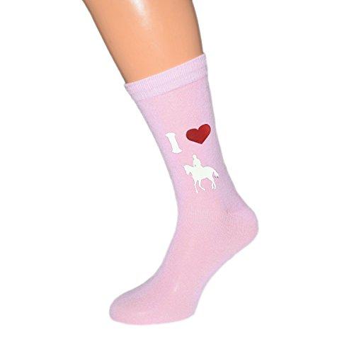 I Love Horseriding Ladies Light Pink Socks UK 4-8 EUR 37-41