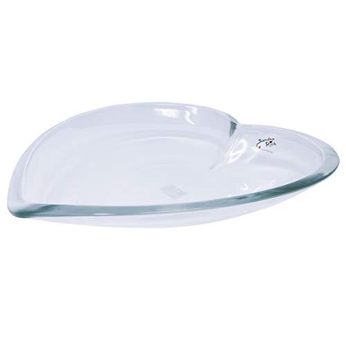 Bol en verre en forme de cœur transparent 30 cm