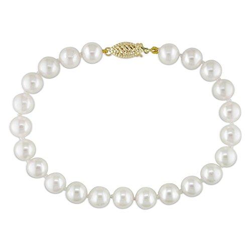 (14K Gelb Gold 6–6,5mm Süßwasser Zuchtperle AA Qualität perle Armband 17,8cm)