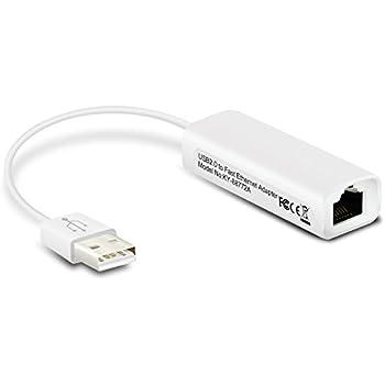 Aukru à Adaptateur USB 2.0 Ethernet 10-100 Mbps LAN réseau - Cordon Câble RJ45 - Compatible avec MAC/LINUX/Win XP-VISTA-SEVEN-8 - USB 2.0 to fast Ethernet adapter (Blanc)
