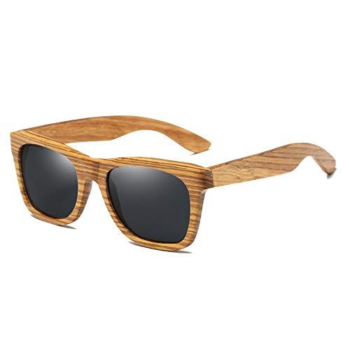 WWFF Handmade Zebrano Holzrahmen Sonnenbrille UV 400 Schutzharz Linse HD Visuelle Starke Auswirkungen Blendschutz Polarisiertes Licht Schwarz (Farbe : Black)
