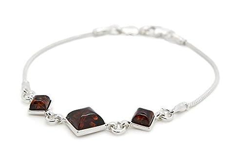 Argent sterling 925Square Link ambre iLikeAmber. com Bracelet pour les femmes avec une véritable.