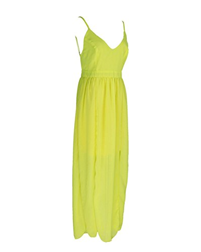 QIFEI@New Ladies Dress Fashion robe / manches en mousseline de soie / robe licou plage profond col V / robe rose / casual Parti de vêtements Tender Green