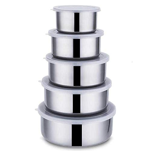 Y·zSealed Crisper Stainless Steel Bowls Sealing Food Storage Box with Cover,5-Piece Set Food Storage Box Cover