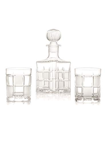 Crystal Sets 6 Tumbler Glasses and Decanter, Hand Cut and Made,Set of 7, Gift Box -