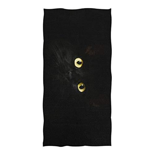 Nananma Large Beach Towel Black Cat Eyes Print Sand Resistant Picnic Blanket Beach Mat for Travel Pool Swimming Bath Camping Yoga Gym Sports -