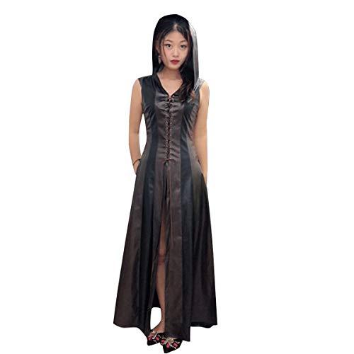 GotFeelin Halloween mit Kapuze PU-Leder Kleid Bandage ärmellose Split bodenlangen Kleider