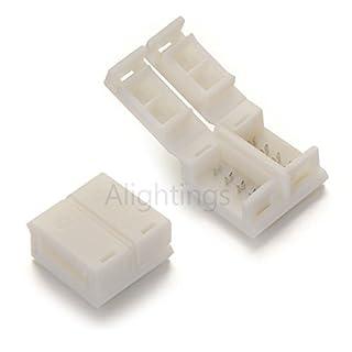 Alightings 10Pcs Verpackt Anschlüsse für 10mm Breit Wasserdicht LED Lichtleiste Farbwechselfunktion, Kein Löten (1004pol RGB Strip Connector)
