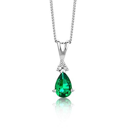 Orovi collana - pendente - ciondolo donna con catena in oro bianco con diamanti taglio brillante e smeraldo ct 0.43 oro 9 kt/375 catenina cm 45