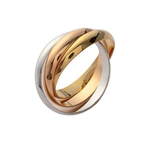 ISADY - Celia Gold - Damen Ring - 18 Karat (750) Gelbgold und 925er Silber - Dreiband - Dreierring Vorsteckring Ehering Trauring - T 50 (15.9)