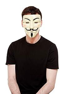 Smiffys 52364 Guy Fawkes - Máscara unisex para adultos, color blanco, talla única