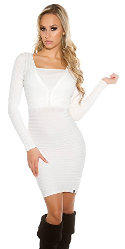 KouCla -  Vestito  - Basic - Maniche lunghe  - Donna Bianco