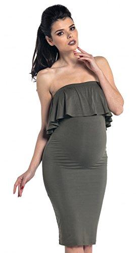 Zeta Ville - Maternité robe stretch bandeau plissé sans bretelles - femme - 571c Kaki