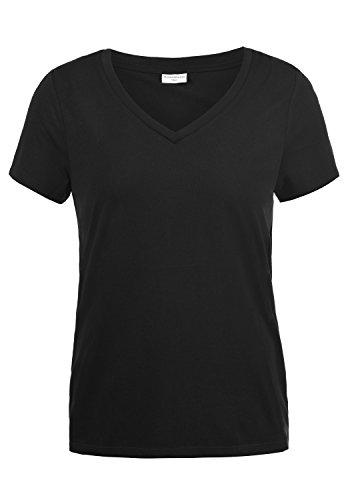 Jaqueline De Yong by Only Leona Damen T-Shirt Kurzarm Shirt mit V-Ausschnitt, Größe:L, - Schwarz V-schnitt Shirt