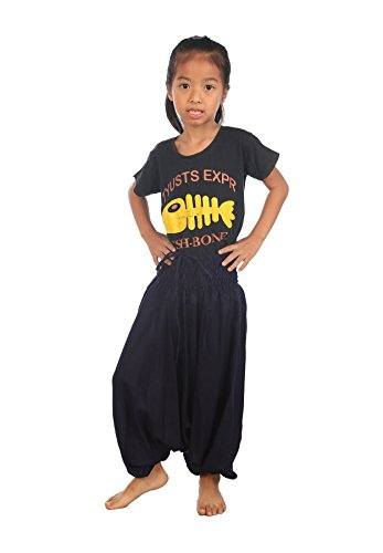 Lofbaz Mädchen Kinderhose Haremshose Jumpsuit einfarbig Dunkelblau Größe 2T