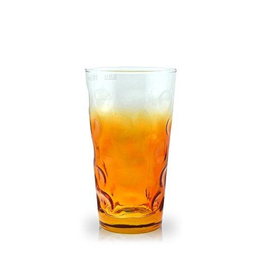 (Farbiges Dubbeglas orange dreiviertel gefärbt (0,5l))