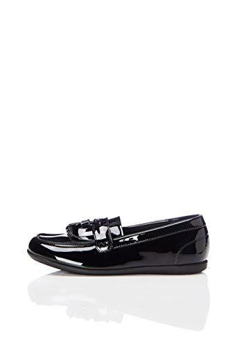 RED WAGON Mädchen Loafers in Lack-Optik, Schwarz (Black Patent NSCCF1793-0057-01C), 35.5 EU (3 UK) (Mokassin Loafer Schuhe)