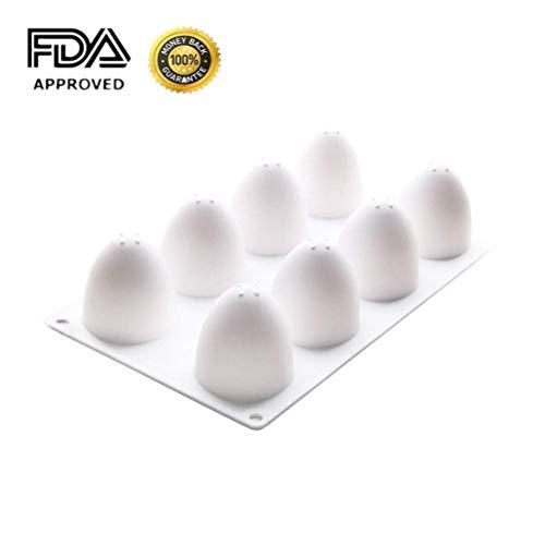 Voarge Silikon-Formen in 3 D für acht Ostereier, 8 Gitter Ei Form Kuchen Form Silikon Backwerkzeuge für Chiffon Mousse Kuchen Schokolade Süßigkeiten (Ei-form Kuchen-form)