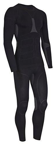 icefeld®: Sport- / Ski- Thermounterwäsche-Set für Herren Seamless (nahtfrei) in schwarz/grau XL