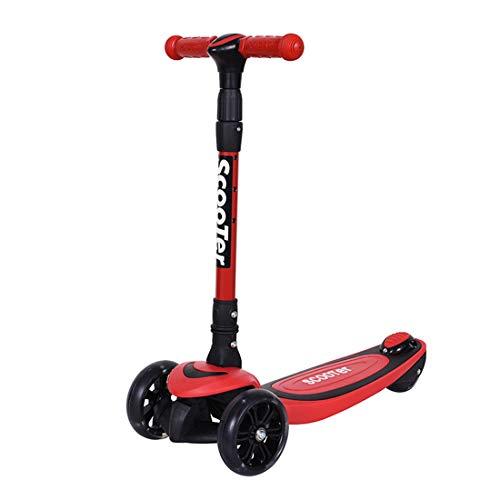GRXXX Dreirädriges Kinderroller-Blitzspielzeug für Kinder, faltbar, einstellbar, im Freien,Red-OneSize
