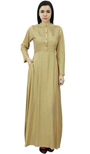 Bimba à long maxi manches col mandarin robe de plaine des avec des poches Beige