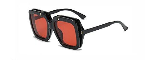 Hykis Big-Platz Clamshell Sonnenbrillen f¨¹r Frauen Flip-up Sonnenbrille M?nner ¨¹bergro?e schwarz, rot, gelb Sonnegl?ser f¨¹r Frauen uv400 [red]