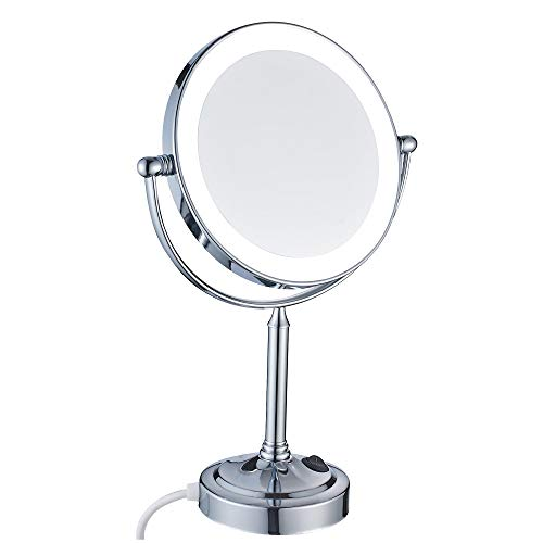 Aliaoforz Beleuchteter Vanity Desktop-Spiegel mit LED-Beleuchtung und 7-facher Vergrößerung und normalem, beidseitig drehbarem 360-Grad-Spiegel, Chrom poliert -